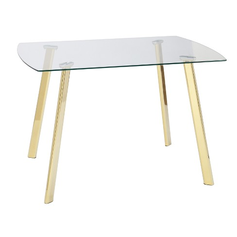 Uptown Dining Table Glass Gold Metal Lateral