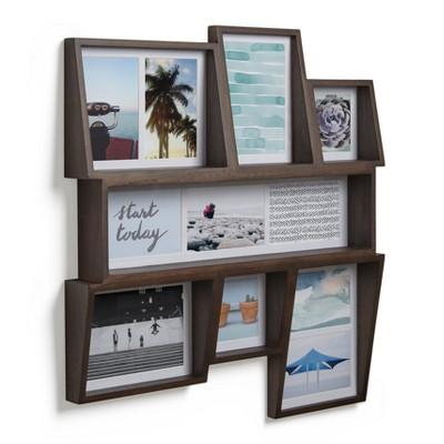 Edge Multi Wall Photo Display - Aged Walnut - Umbra