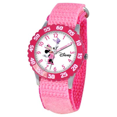 Girls' Disney Minnie Mouse Stainless Steel Time Teacher with Bezel - Pink