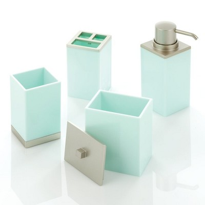 mDesign 4 Piece Plastic Bathroom Vanity Countertop Accessory Set