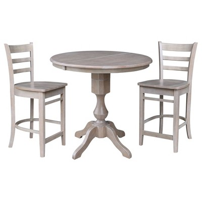 """36"""" Matthew Round Counter Height Extendable Dining Table with 12"""" Drop Leaf and 2 Emily Stools - International Concepts"""