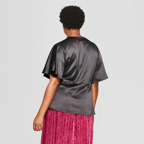 40165b7b3bc Women s Plus Size Satin Wrap Short Sleeve Top - Ava   Viv™ Black 3X   Target