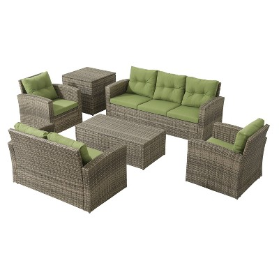 6pc Wicker Rattan Patio Sofa Set with Green Cushions - Accent Furniture