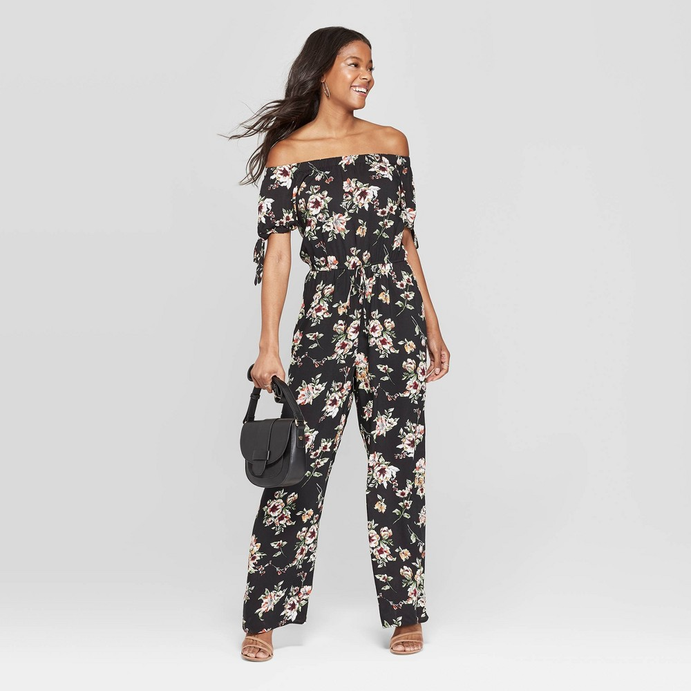 Women's Floral Print Off the Shoulder Tie Sleeve Jumpsuit - Xhilaration Black Xxl