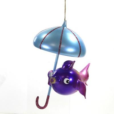 "Italian Ornaments 6.25"" Puffer Fish W/ Umbrella Ornament Italian Ocean Beach  -  Tree Ornaments"