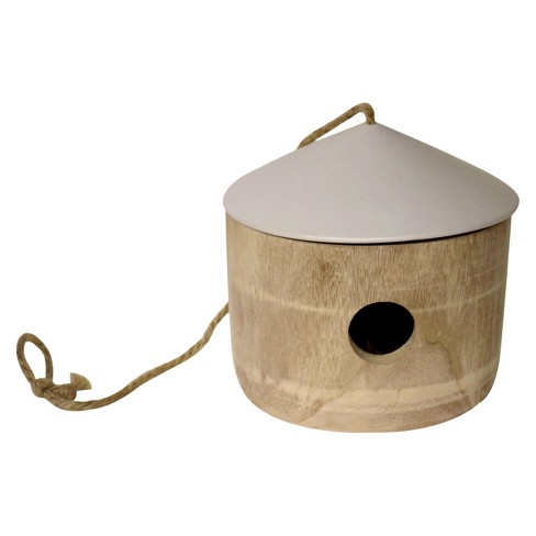 "7.7"" Concrete Birdhouse with Wood Door - Wood - Threshold™ - image 1 of 1"