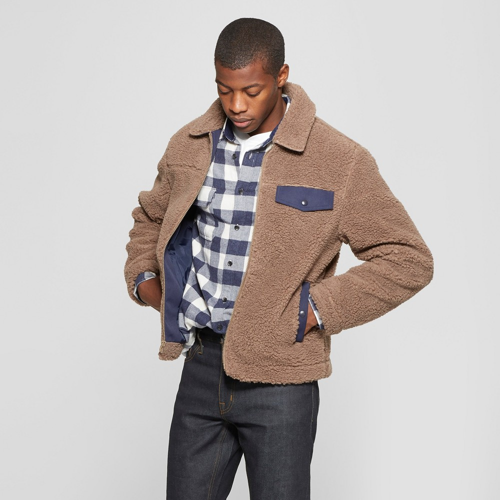 Men's Faux Fur Jacket - Goodfellow & Co Mocha L, Brown