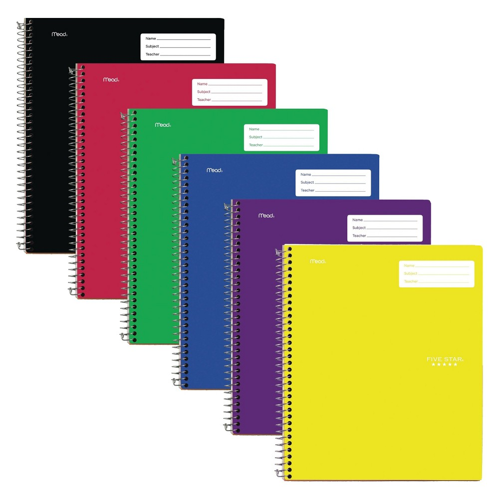 6ct Spiral Notebook 1 Subject College Ruled Classic Colors - Five Star, Multi-Colored