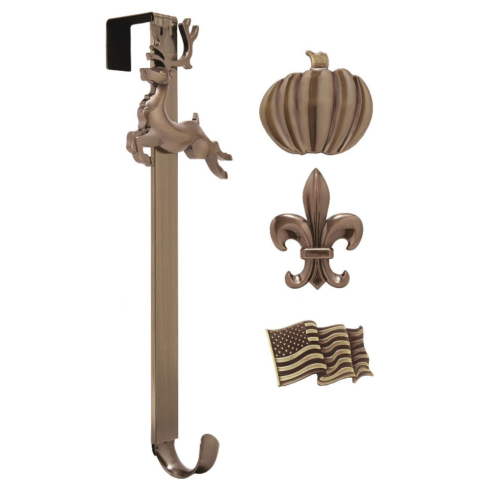 Image of Haute Decor Christmas Adjustable Wreath Hanger with Icon Bundle Bronze Flag/Reindeer/Pumctin/ Fleur de lis, Oil-Rubbed Bronze