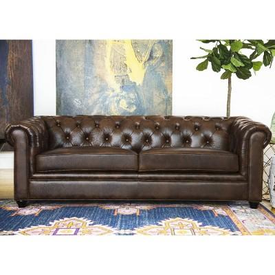 keswick tufted leather sofa abbyson living target rh target com