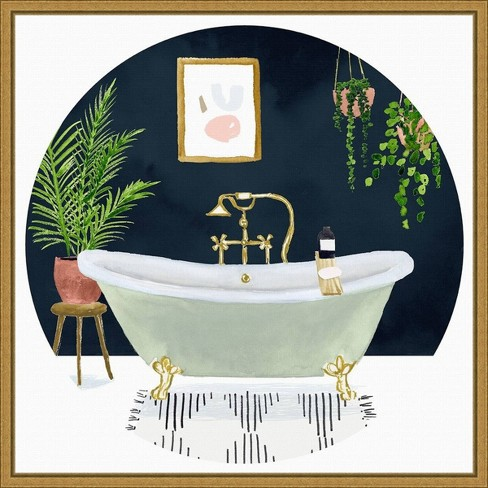 16 X 16 Homebody Collection C Bath By Victoria Borges Framed Canvas Wall Art Gold Amanti Art Target