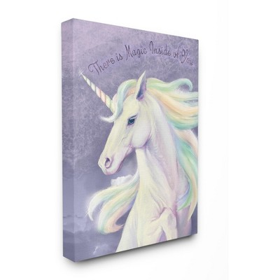 Stupell Industries Magic Inside Of You Inspirational Unicorn Quote Purple Pink
