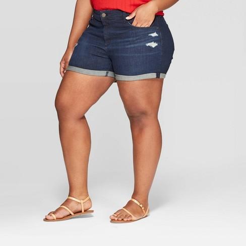 2f356f81fb6 Women s Plus Size Mid-Rise Jean Shorts - Universal Thread™ Dark Blue 18W    Target