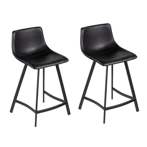 Peachy Set Of 2 Moroven Faux Leather Counter Stools Black Aiden Lane Pdpeps Interior Chair Design Pdpepsorg