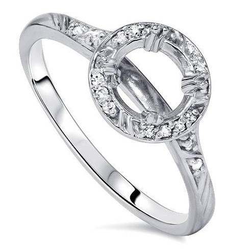 Pompeii3 1/8ct Diamond Vintage Engagement Ring Semi Mount 14K White Gold - image 1 of 4