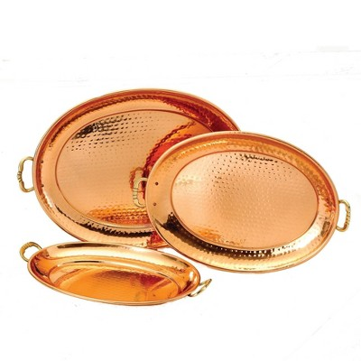 Old Dutch 3pc Steel Serving Tray Set Copper