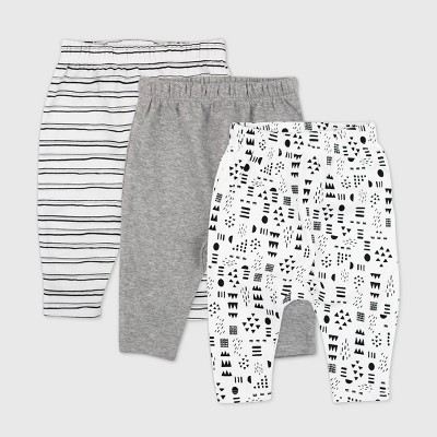 Honest Baby 3pk Pattern Play Organic Cotton Cuff-Less Harem Pants - White/Black 0-3M