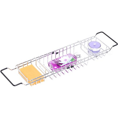 Basicwise Expandable Metal Bathtub Caddy With, Rubber Handles