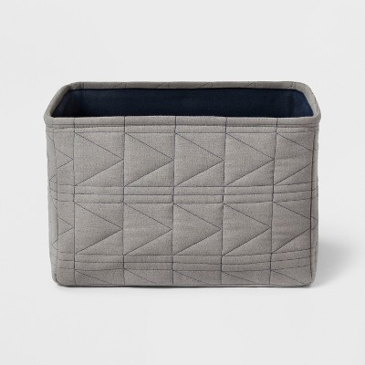 Large Quilted Toy Storage Bin Gray - Pillowfort™