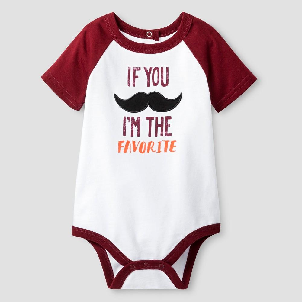 Baby Boys' Short Sleeve If You Mustache Bodysuit - Cat & Jack White 3-6M