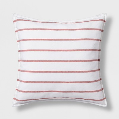 Woven Stripe Oversize Square Throw Pillow Red - Threshold™