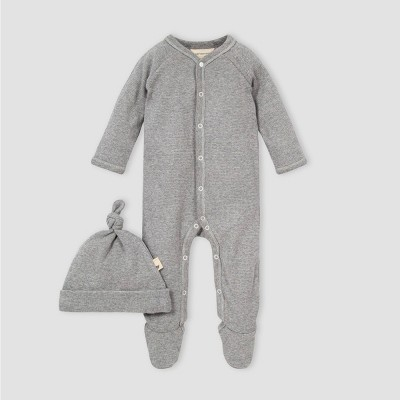 Burt's Bees Baby® Baby Thermal Footed Jumpsuit and Knot Top Hat Set - Gray 0-3M