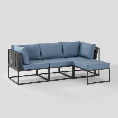 4pc Outdoor Cord Modular Sectional - Blue - Saracina Home