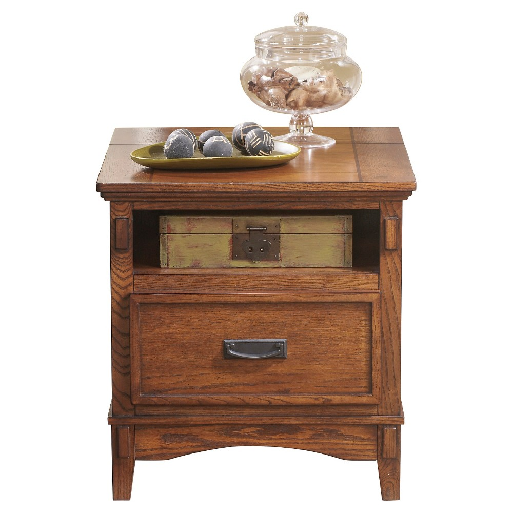 Cross Island Rectangular End Table Medium Brown - Signature Design by Ashley, Brown Clay