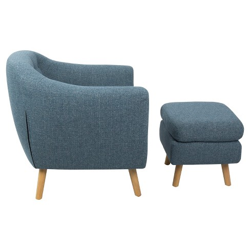 Rockwell Mid Century Modern Chair With Noise Fabric Ottoman Lumisource Target