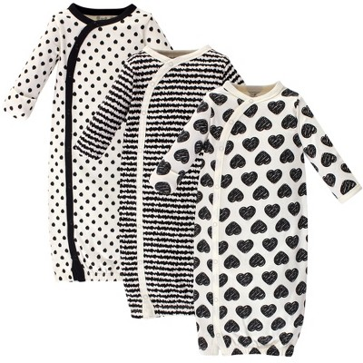Touched by Nature Baby Girl Organic Cotton Kimono Long-Sleeve Gowns 3pk, Heart