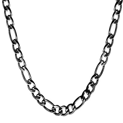 Crucible Men's Black Plated Stainless Steel Figaro Chain Necklace