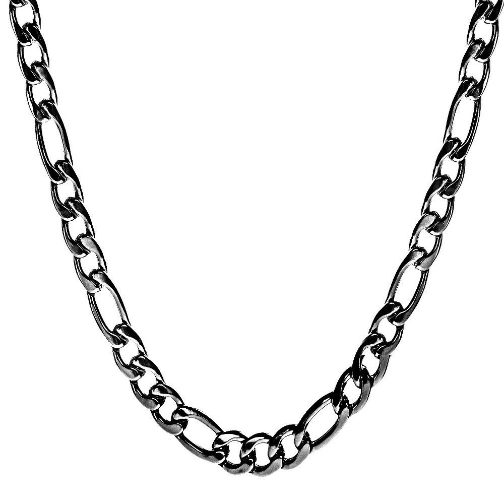 Image of Crucible Men's Black Plated Stainless Steel Figaro Chain Necklace, Size: Small, Black/Silver/Silver