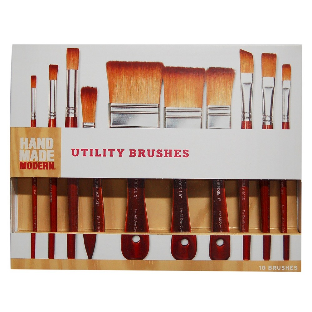 Image of 10ct Utility Paint Brush Set Hand Made Modern