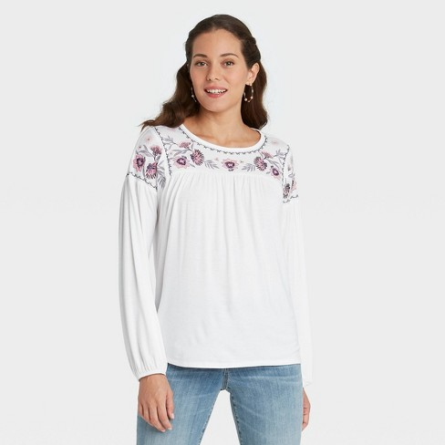 Women's Long Sleeve Embroidered Knit Top - Knox Rose™ - image 1 of 3