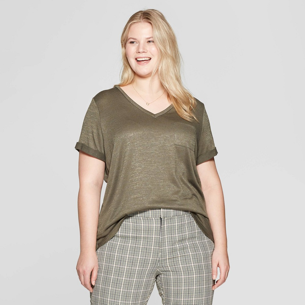 Women's Plus Size Pocket Short Sleeve Rolled Cuff V-Neck T-Shirt - Ava & Viv Olive (Green) 1X