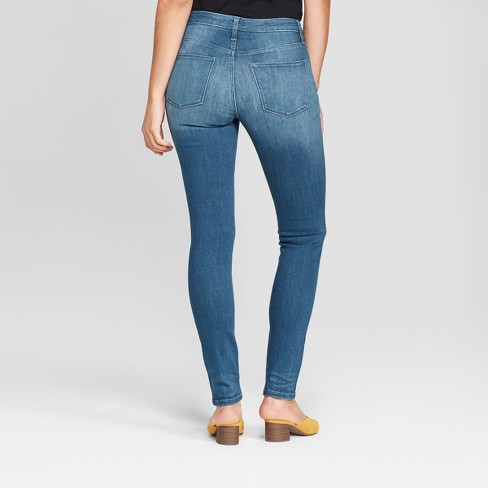 f9e199ca3efcc Women s High-Rise Button Fly Skinny Jeans - Universal Thread™ Dark Wash