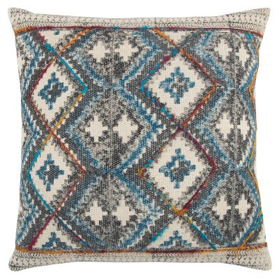 """20""""x20"""" Oversize Diamond Square Throw Pillow Cover Charcoal - Rizzy Home"""