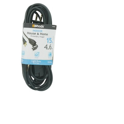 Woods 15' Indoor Extension Cord Black