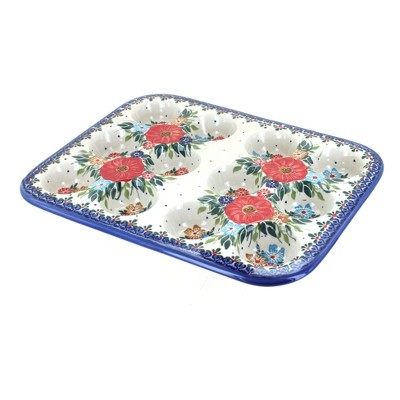Blue Rose Polish Pottery Amelie Small Muffin Pan