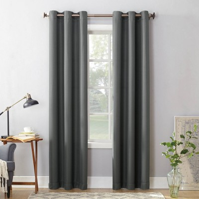 Montego Casual Textured Grommet Curtain Panel Charcoal 48 x95  - No. 918