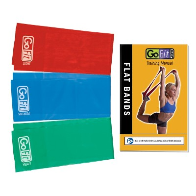 GoFit Flat Power Resistance Bands with Manual 3pk