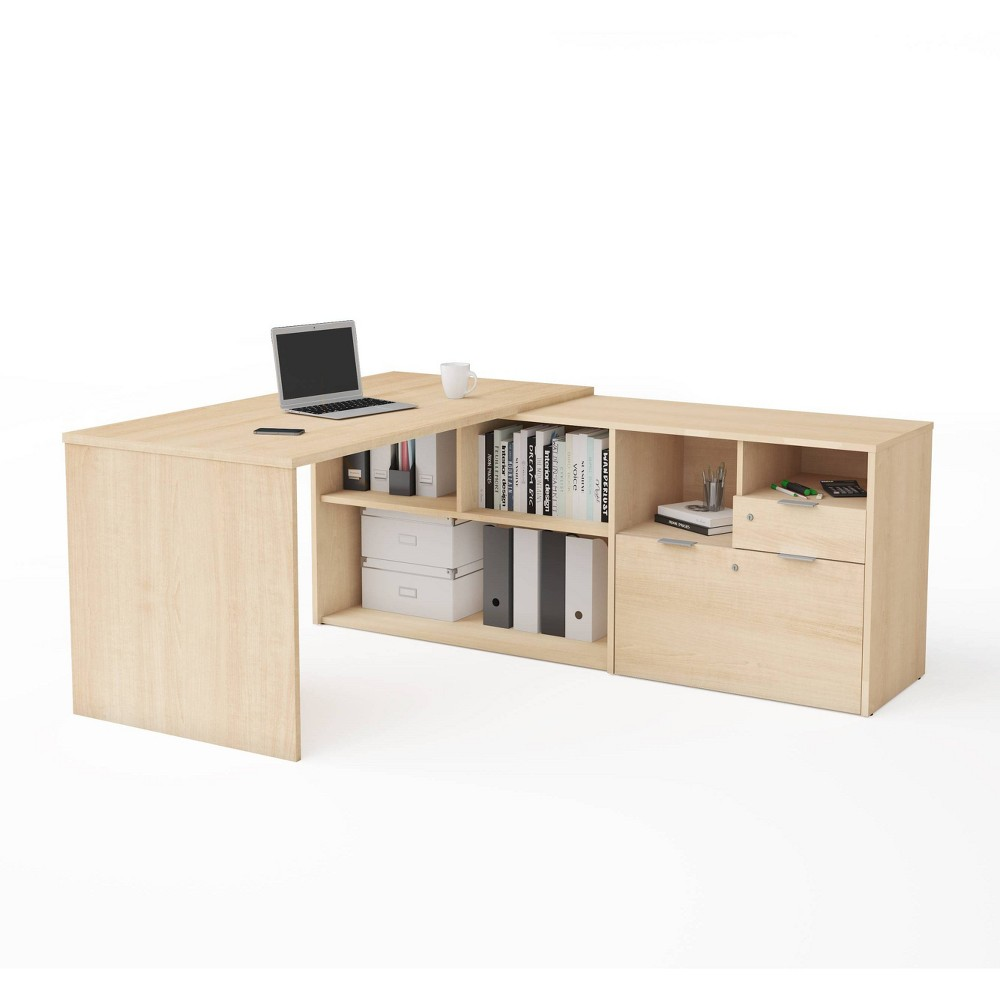 Image of I3 Plus L Desk with Two Drawers Northern Maple - Bestar, Northern Brown