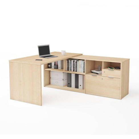 I3 Plus L Desk with Two Drawers - Bestar - image 1 of 3