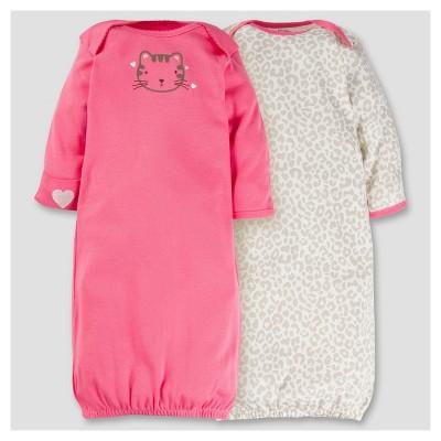 Baby Girls' 2pk Cotton Gown - Kitty 0-6M - Gerber®