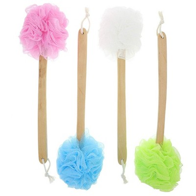 Juvale 4 Pack Body Back Scrubber For Shower, Loofah On A Stick, Exfoliating Mesh Pouf with Handle, 16 in