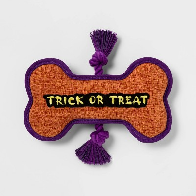 Plush Trick or Treat Word Bone with Rope Slider Dog Toy - Hyde & EEK! Boutique™