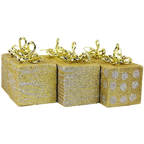 Northlight 6ct Glittered Gift Boxes Christmas Ornaments Set 5 Gold Silver