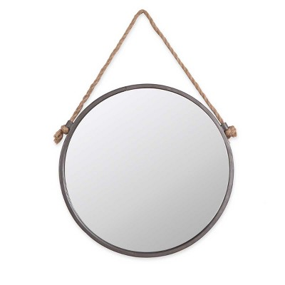 15 inch Diameter Round Rustic Wall Mirror with Hanging Rope - Foreside Home & Garden