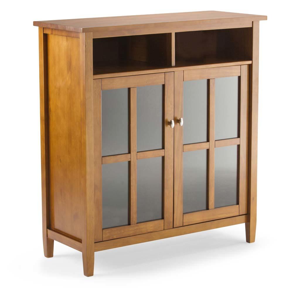 Norfolk Solid Wood Medium Storage Media Cabinet Honey Brown - Wyndenhall