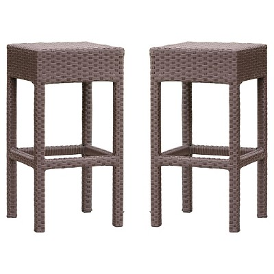 Milton Set of 2 Wicker Patio Backless Barstool - Brown - Christopher Knight Home